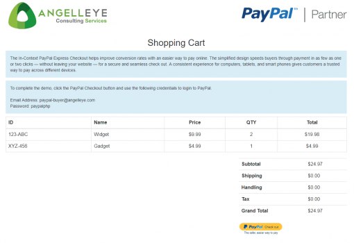PayPal Express Checkout PHP In Context Demo Kit Shopping Cart