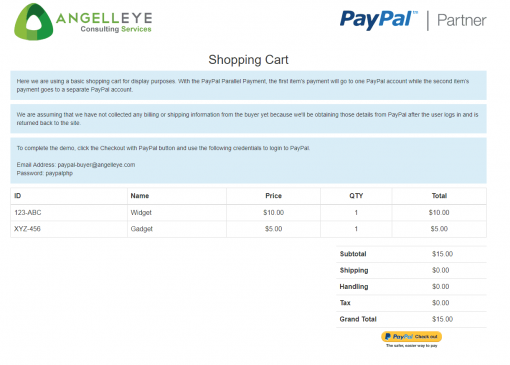 PayPal Express Checkout Parallel Payments Shopping Cart