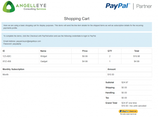 PayPal Express Checkout Shipped + Subscription Combined Demo Kit Shopping Cart