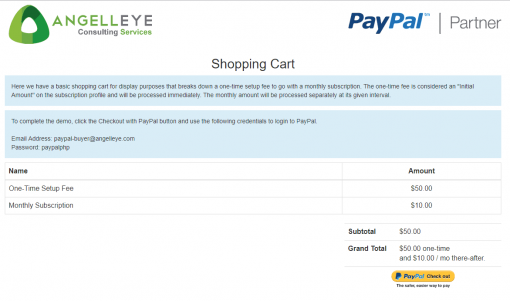 PayPal Express Checkout PHP Recurring Payments Demo Kit Shopping Cart