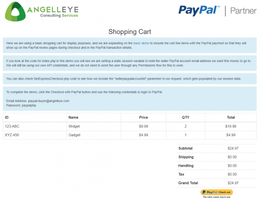 PayPal Express Checkout Third Party Without Permissions Shopping Cart