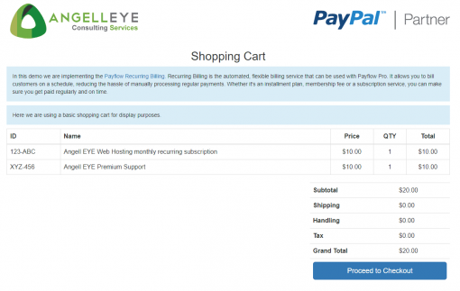 PayPal Payments Pro PayFlow Recurring Billing Demo Kit Shopping Cart