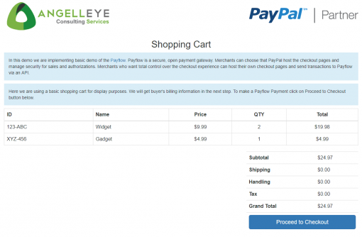 PayPal Payments Pro PayFlow Demo Kit Shopping Cart