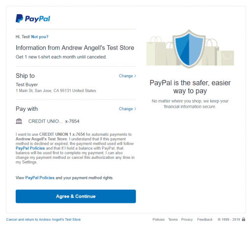 PayPal Checkout REST Billing Plan Agreement Demo Kit Agreement