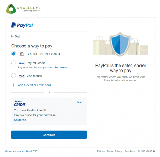PayPal Express Checkout Shipped + Subscription Combined Demo Kit Funding Source