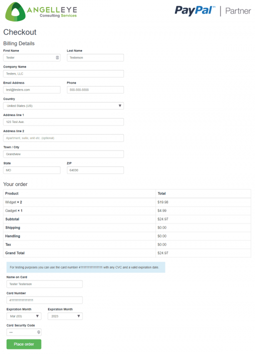 PayPal Payments Pro PayFlow Demo Kit Checkout Form