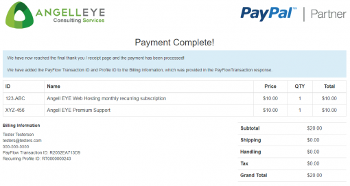 PayPal Payments Pro PayFlow Recurring Billing Demo Kit Complete