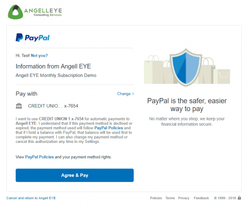 PayPal Express Checkout PHP Recurring Payments Demo Kit Agreement
