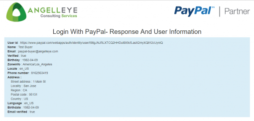 PayPal Identity Log In with PayPal REST API Demo Kit User Data Returned