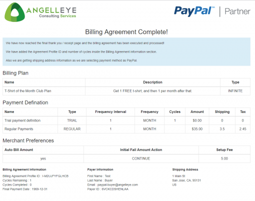 PayPal Checkout REST Billing Plan Agreement Demo Kit Complete