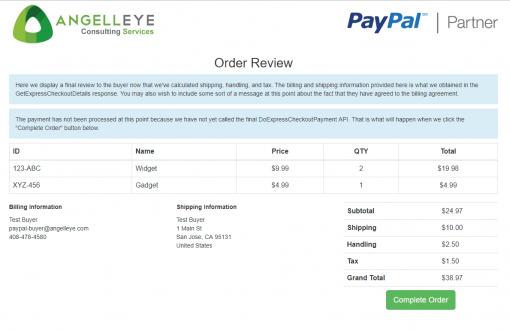 PayPal Express Checkout PHP SDK Billing Agreement Demo Kit Final Review
