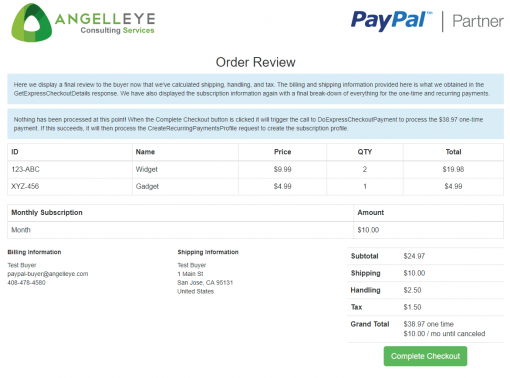 PayPal Express Checkout Shipped + Subscription Combined Demo Kit Review Final