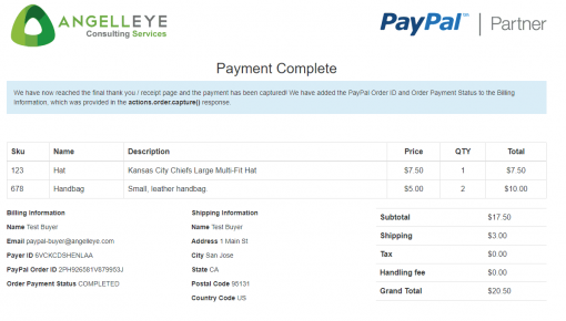 PayPal Checkout PHP REST Orders v2 Demo Kit Payment Complete