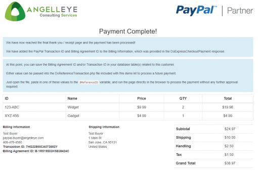 PayPal Express Checkout PHP SDK Billing Agreement Demo Kit Complete