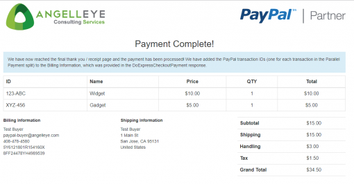 PayPal Express Checkout Parallel Payments Complete