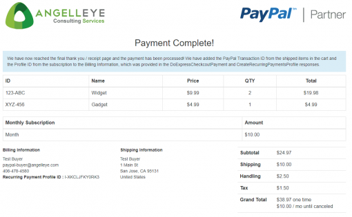 PayPal Express Checkout Shipped + Subscription Combined Demo Kit Complete
