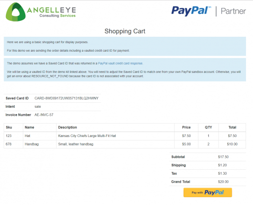 PayPal Saved Credit Card Vault Token Payment Reference Transaction PHP REST Demo Kit Shopping Cart