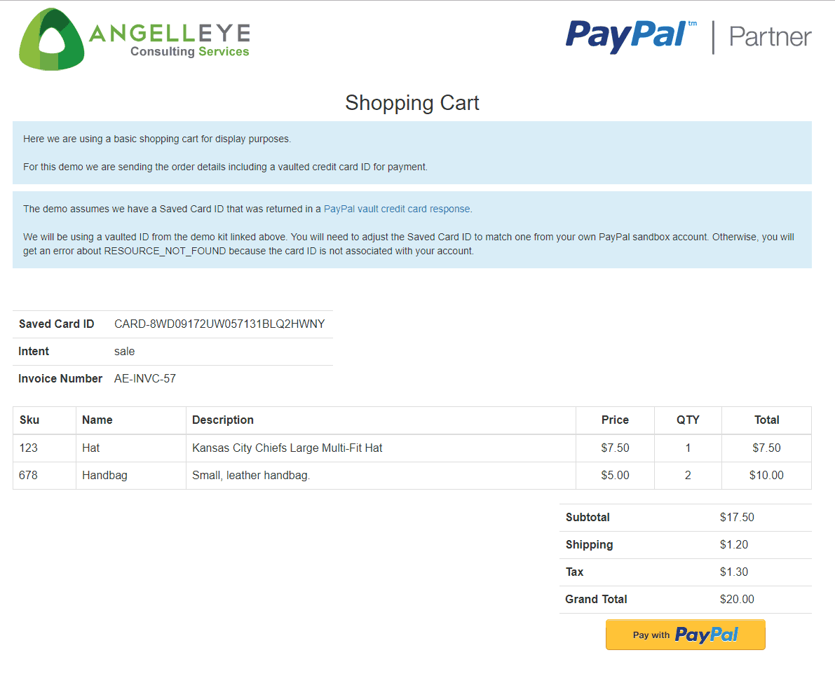 PayPal Credit Card Vault Token Payment PHP Demo Kit - AngellEYE