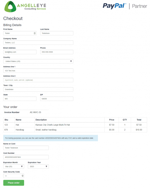 PayPal REST Direct Credit Card Processing PHP Demo Kit Checkout Form