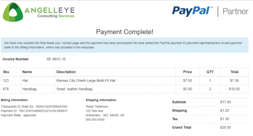 PayPal REST Direct Credit Card Processing PHP Demo Kit Payment Complete