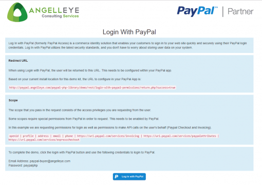 PayPal Identity Login with PayPal 3rd Party API Permissions Demo Kit Button
