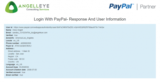 PayPal Identity Login with PayPal 3rd Party API Permissions Demo Kit User Data Returned