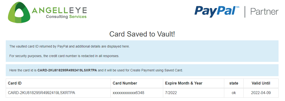 PayPal Save Credit Card Vault PHP Demo Kit - AngellEYE