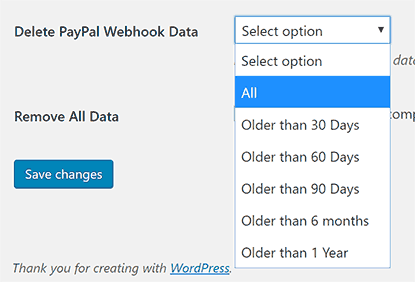 PayPal Webhooks WordPress Delete Data