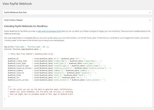 PayPal Webhooks WordPress Hook Function Template