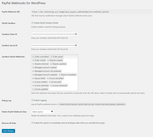 PayPal Webhooks WordPress Settings