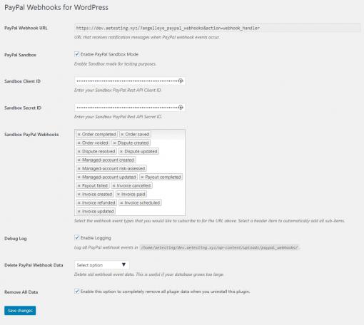 PayPal Webhooks WordPress Settings
