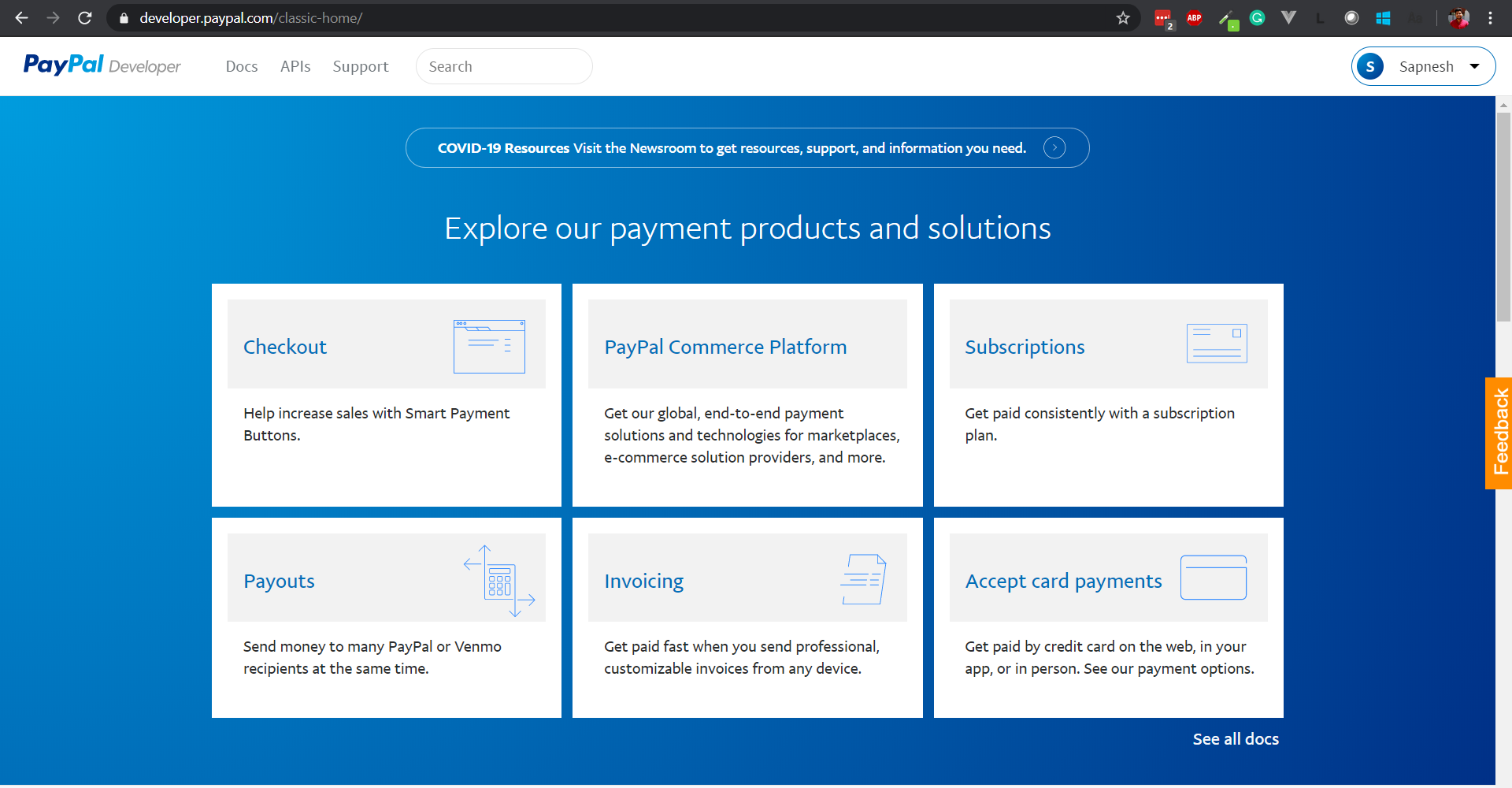Log in to PayPal Developer Account