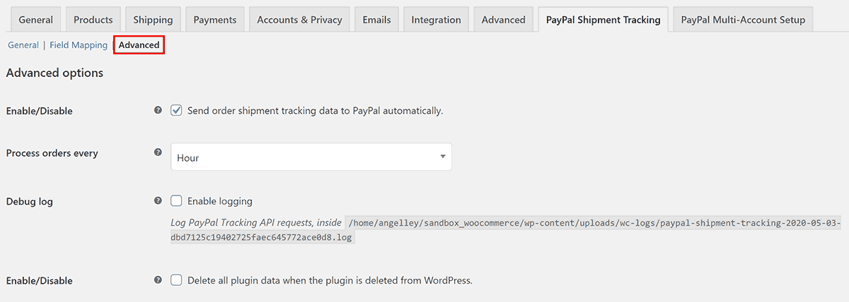 PayPal Shipment Tracking Numbers WooCommerce Advanced Settings