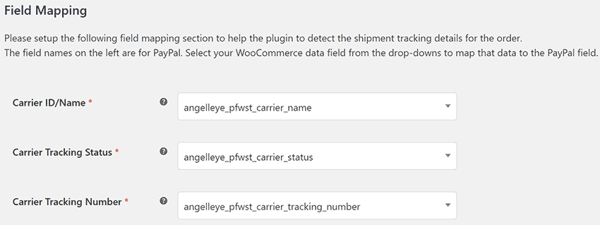 WooCommerce PayPal Shipment Tracking Field Mapping