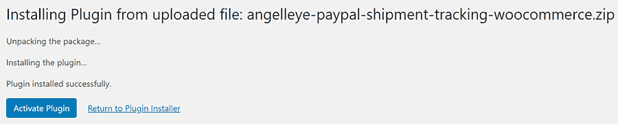 PayPal Shipment Tracking Numbers WooCommerce Installed
