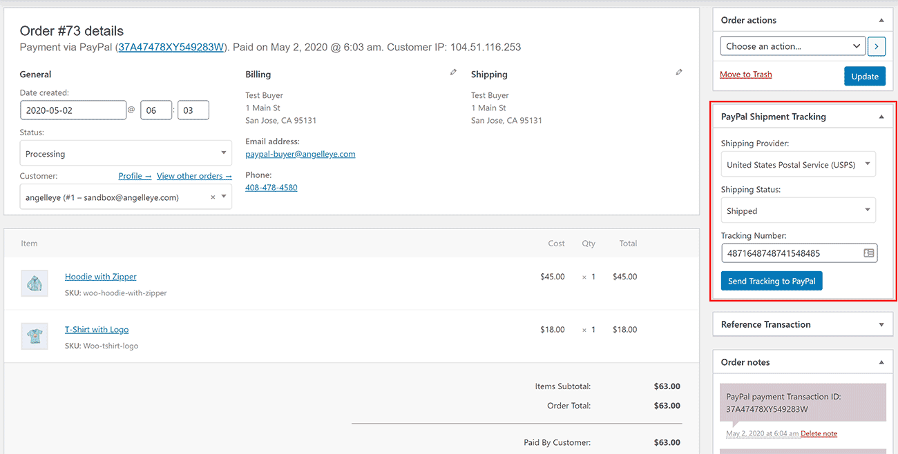 WooCommerce Order Details PayPal Shipment Tracking Number