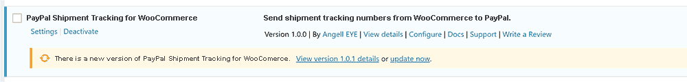 PayPal Shipment Tracking Numbers WooCommerce Update Available