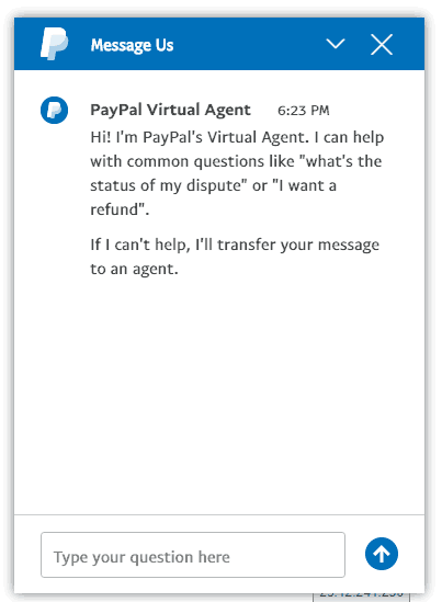 PayPal Virtual Chat Step 1
