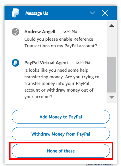 PayPal Virtual Chat Step 2