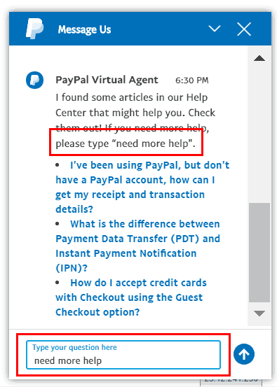 PayPal Virtual Chat Step 3