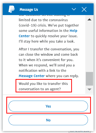 PayPal Virtual Chat Step 4