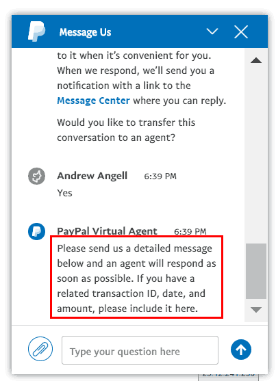 PayPal Virtual Chat Step 5