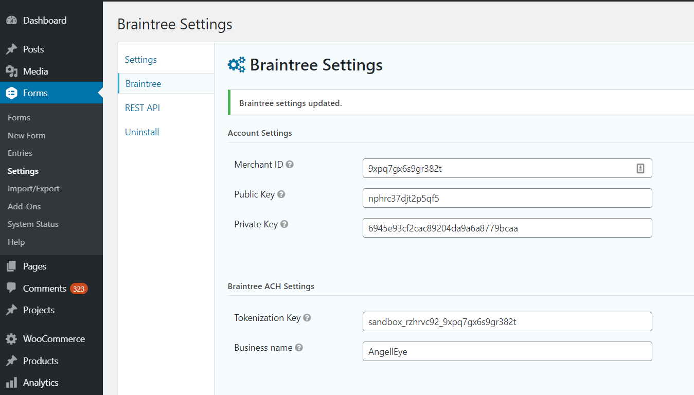 braintree tokenization key set
