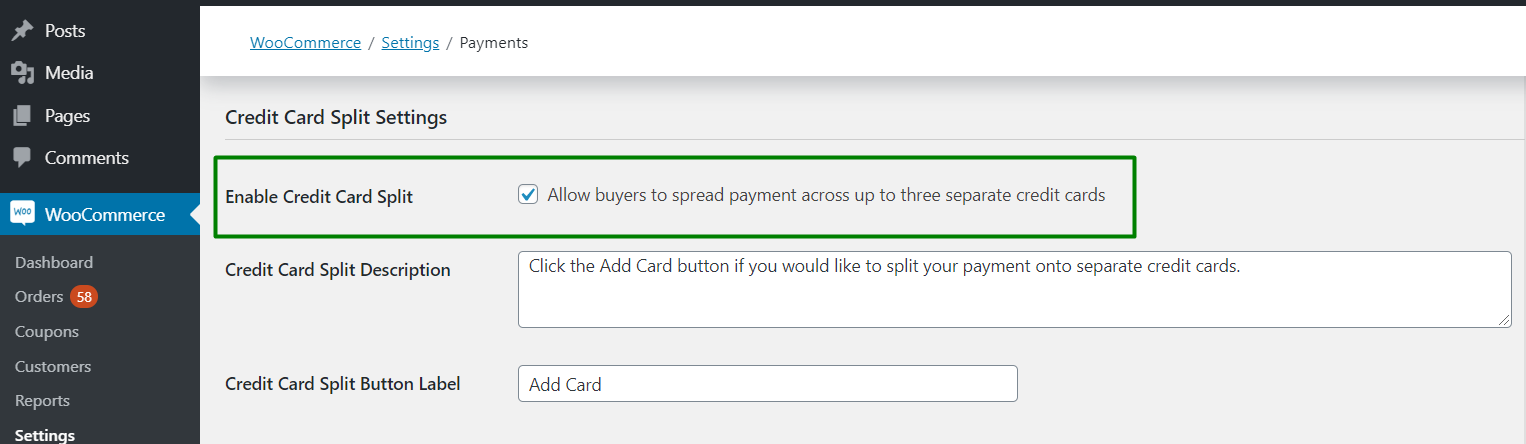 2. Enable Credit Card Split