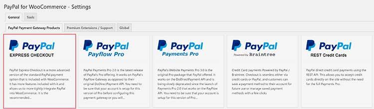 Select PayPal Express Checkout Gateway