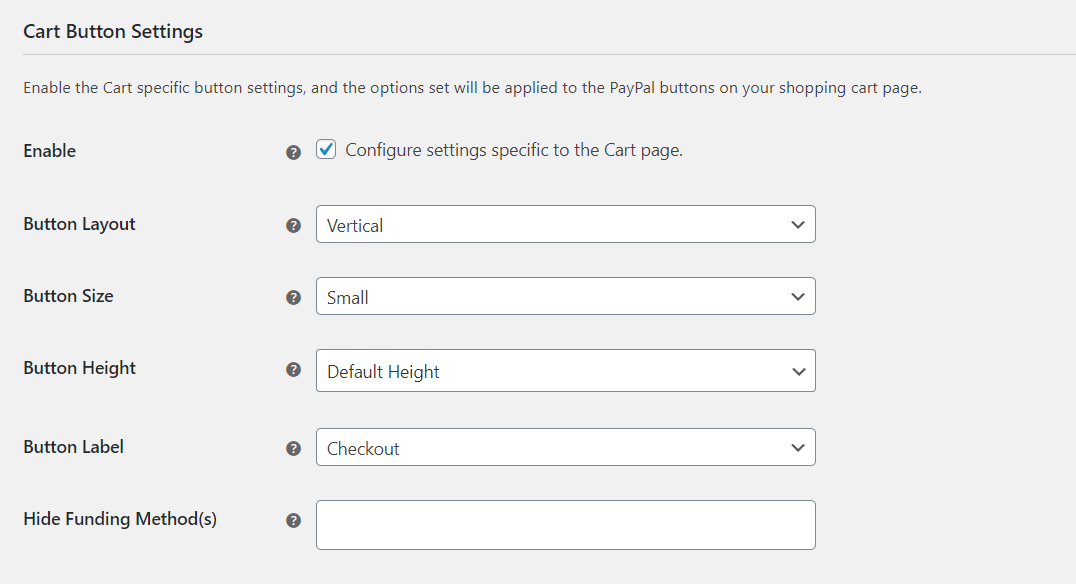 Cart Button Settings