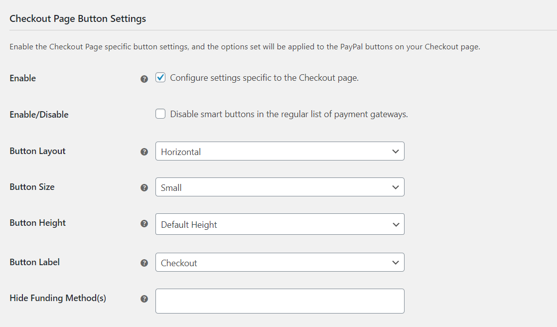 Checkout Page Button Settings