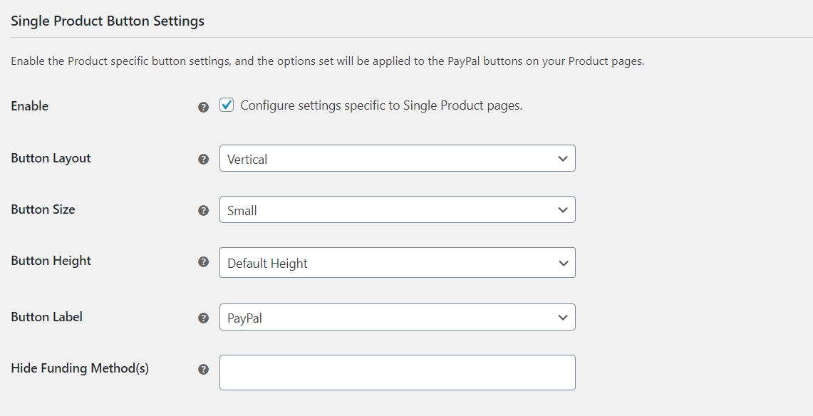 Single Product Button Settings